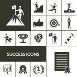 Μαύρο σύνολο εικονιδίων επιτυχίας Στοκ Εικόνα