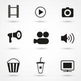 Μαύρο σύνολο εικονιδίων κινηματογράφων Στοκ Φωτογραφίες