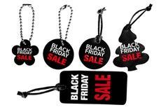 Μαύρο σύνολο ετικεττών δέρματος πώλησης Παρασκευής Στοκ Εικόνες