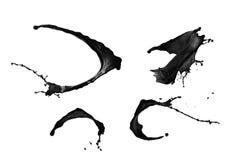 Μαύρο σύνολο παφλασμών χρωμάτων που απομονώνεται στο άσπρο υπόβαθρο Στοκ εικόνα με δικαίωμα ελεύθερης χρήσης