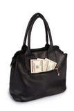 Μαύρο σύνολο τσαντών των χρημάτων (πορεία ψαλιδίσματος) Στοκ εικόνες με δικαίωμα ελεύθερης χρήσης