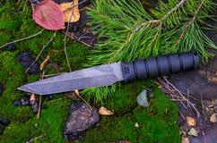Μαύρο τακτικό μαχαίρι σε έναν κομψό κλάδο Στρατιωτικό φθινόπωρο Πτώση στο δάσος Στοκ φωτογραφία με δικαίωμα ελεύθερης χρήσης