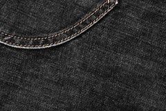 Μαύρο τζιν και stiches σύσταση τζιν για το γραφικό σχέδιο Στοκ Φωτογραφίες
