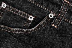 μαύρο τζιν και stiches σύσταση τζιν Στοκ Εικόνα
