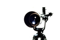 Μαύρο τηλεσκόπιο σε ένα άσπρο υπόβαθρο Προσοχή των αστεριών Στοκ φωτογραφία με δικαίωμα ελεύθερης χρήσης