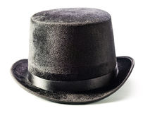 Μαύρο τοπ καπέλο που απομονώνεται στο λευκό Στοκ εικόνες με δικαίωμα ελεύθερης χρήσης