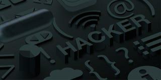 Μαύρο τρισδιάστατο υπόβαθρο χάκερ με τα σύμβολα Ιστού ελεύθερη απεικόνιση δικαιώματος