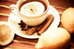 Μαύρο τσάι με το λεμόνι και τα καρυκεύματα κόκκινος τρύγος ύφους κρίνων απεικόνισης Στοκ εικόνες με δικαίωμα ελεύθερης χρήσης