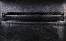 Μαύρο υπόβαθρο δέρματος με τα περιθώρια και την τσέπη, τραχύ σχέδιο Στοκ φωτογραφίες με δικαίωμα ελεύθερης χρήσης