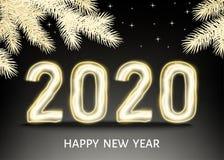 μαύρο υπόβαθρο καλής χρονιάς του 2020 με το χρυσό αριθμό νέου απεικόνιση αποθεμάτων