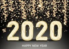 μαύρο υπόβαθρο καλής χρονιάς του 2020 με το χρυσό αριθμό νέου ελεύθερη απεικόνιση δικαιώματος