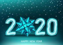 μαύρο υπόβαθρο καλής χρονιάς του 2020 με το χρυσό αριθμό νέου διανυσματική απεικόνιση