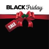 Μαύρο υπόβαθρο κορδελλών πώλησης Παρασκευής Στοκ Εικόνα