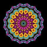 Μαύρο υπόβαθρο με τη ζωηρόχρωμη εκλεκτής ποιότητας διακοσμητική διακόσμηση mandala λουλουδιών διανυσματική απεικόνιση