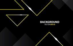 Μαύρο υπόβαθρο με το χρυσό τριγώνων μεταλλικό Ελάχιστη έννοια διανυσματική απεικόνιση