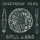 Μαύρο υπόβαθρο πινάκων χορτοφάγος σχάρα Φυτικό BBQ Λαβίδες και δίκρανο συσκευών πικ-νίκ και σχαρών Ντομάτα, πιπέρι κουδουνιών, κρ διανυσματική απεικόνιση