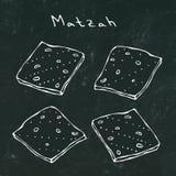 Μαύρο υπόβαθρο πινάκων Matzah ή Matzo, Unleavened ψωμί για Pesach, εβραϊκές διακοπές Passover, στο άσπρο υπόβαθρο, de διανυσματική απεικόνιση