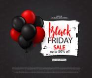 Μαύρο υπόβαθρο πώλησης Παρασκευής με τα μπαλόνια σχέδιο σύγχρονο Καθολικό διανυσματικό υπόβαθρο για την αφίσα, εμβλήματα, ιπτάμεν Στοκ Φωτογραφίες