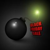 Μαύρο υπόβαθρο πώλησης Παρασκευής με τη βόμβα κινούμενων σχεδίων έτοιμη να εκραγεί Στοκ Εικόνες
