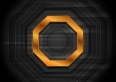 Μαύρο υπόβαθρο τεχνολογίας με το οκτάγωνο χαλκού διανυσματική απεικόνιση