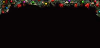 Μαύρο υπόβαθρο Χριστουγέννων με το κενό διάστημα αντιγράφων Διακοσμητικό πλαίσιο Χριστουγέννων για την έννοια ή τις κάρτες Στοκ Εικόνα