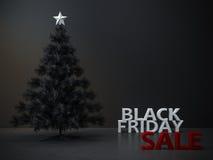 Μαύρο υπόβαθρο χριστουγεννιάτικων δέντρων Παρασκευής Στοκ Εικόνες