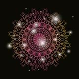 Μαύρο υπόβαθρο χρώματος με τη φωτεινότητα και τη ζωηρόχρωμη λαμπρή διακόσμηση mandala λουλουδιών εκλεκτής ποιότητας διακοσμητική απεικόνιση αποθεμάτων
