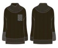 Μαύρο φαρδύ πλεκτό πουλόβερ Στοκ Εικόνες