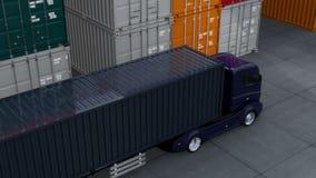 Μαύρο φορτηγό στο λιμένα εμπορευματοκιβωτίων