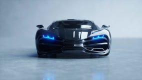 Μαύρο φουτουριστικό ηλεκτρικό αυτοκίνητο με το μπλε φως Έννοια του μέλλοντος τρισδιάστατη απόδοση ελεύθερη απεικόνιση δικαιώματος