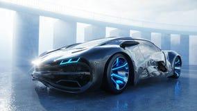 Μαύρο φουτουριστικό ηλεκτρικό αυτοκίνητο στην προκυμαία Αστική ομίχλη Έννοια του μέλλοντος τρισδιάστατη απόδοση απεικόνιση αποθεμάτων