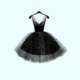 μαύρο φόρεμα λίγα Φόρεμα κόμματος επίσης corel σύρετε το διάνυσμα απεικόνισης Στοκ Εικόνες