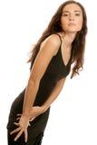 μαύρο φόρεμα που φορά τη γυ στοκ φωτογραφία