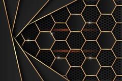 Μαύρο φύλλο μετάλλων με τις χρυσές άκρες στο μαύρο πλέγμα ως υπόβαθρο ελεύθερη απεικόνιση δικαιώματος