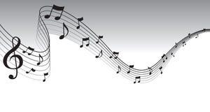 μαύρο φύλλο σελίδων μουσικής συνόρων Στοκ Εικόνα