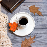 Μαύρο φύλλο σφενδάμου καφέ, knitwear και μελοψωμάτων Στοκ Εικόνα