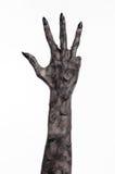 Μαύρο χέρι του θανάτου, το περπάτημα απολύτως, zombie θέμα, θέμα αποκριών, zombie χέρια, άσπρο υπόβαθρο, χέρια μουμιών Στοκ Φωτογραφίες
