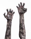Μαύρο χέρι του θανάτου, το περπάτημα απολύτως, zombie θέμα, θέμα αποκριών, zombie χέρια, άσπρο υπόβαθρο, χέρια μουμιών Στοκ φωτογραφία με δικαίωμα ελεύθερης χρήσης