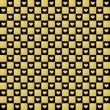 Μαύρο & χρυσό άνευ ραφής υπόβαθρο σχεδίων καρδιών Ελεύθερη απεικόνιση δικαιώματος