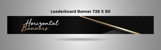 Μαύρο χρυσό απλό σχέδιο διανυσματικός-01 εμβλημάτων 728x90 Leaderboard διανυσματική απεικόνιση