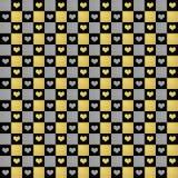 Μαύρο, χρυσό & ασημένιο άνευ ραφής υπόβαθρο σχεδίων καρδιών Στοκ φωτογραφία με δικαίωμα ελεύθερης χρήσης