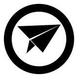 Μαύρο χρώμα εικονιδίων αεροπλάνων εγγράφου στον κύκλο Στοκ Φωτογραφία