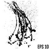 Μαύρο χρώμα, παφλασμός μελανιού, σταγονίδια μελανιού βουρτσών, λεκέδες Μαύρο μελάνι ελεύθερη απεικόνιση δικαιώματος