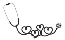 Μαύρο χρώμα στηθοσκοπίων και σύμβολο σημαδιών καρδιών που γίνεται από το καλώδιο ελεύθερη απεικόνιση δικαιώματος