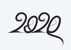 μαύρο χρώμα σχεδίου κειμένων του 2020, συλλογή καλής χρονιάς και καλές διακοπές, του γράφοντας στοιχείου σχεδίου, χειρόγραφος που απεικόνιση αποθεμάτων