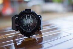 Μαύρο ψηφιακό ρολόι Στοκ Εικόνες