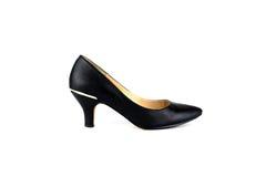 Μαύρο ψηλοτάκουνο παπούτσι γυναικών που απομονώνεται στο λευκό Στοκ Φωτογραφίες