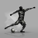 Μαύρο ύφος ποδοσφαιριστών απεικόνιση αποθεμάτων