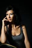 μαύρο brunet κορίτσι ανασκόπηση& Στοκ φωτογραφία με δικαίωμα ελεύθερης χρήσης