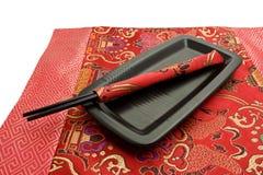μαύρο chopsticks πιάτο Στοκ φωτογραφίες με δικαίωμα ελεύθερης χρήσης